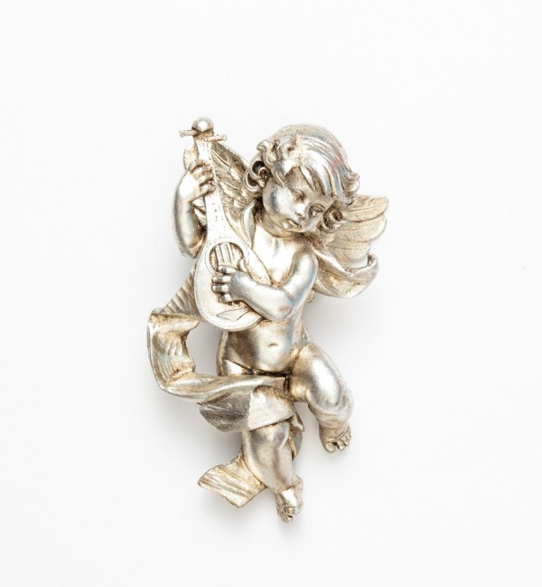 Angelo con mandolino (365) argento foglia cm.22