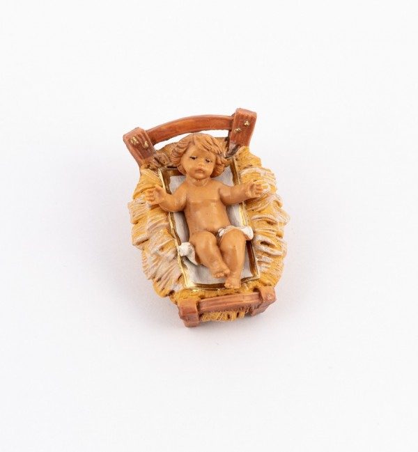 Bambino e culla per presepe cm.9,5