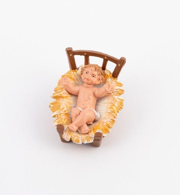 Bambino e culla per presepe colori tradizionali cm.10