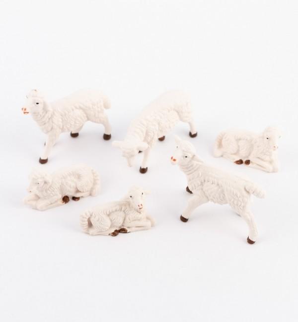 6 pecore per presepe colori tradizionali cm.10