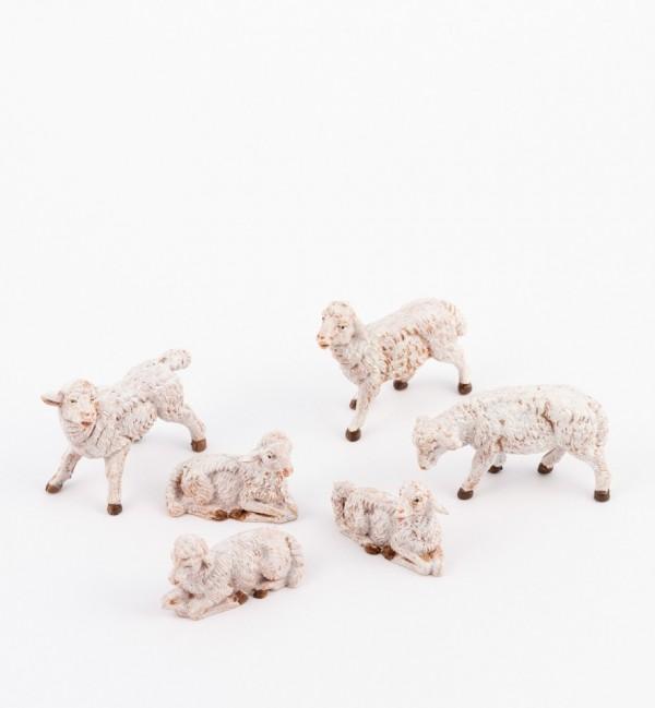 6 pecore per presepe cm.9,5, 10 e 11