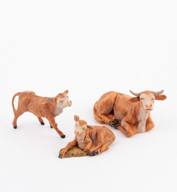 Famiglia bovini per presepe cm.12
