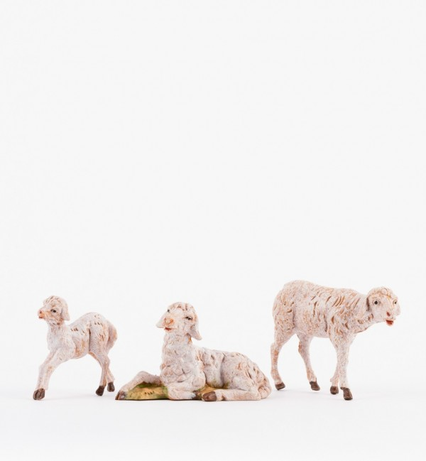 Famiglia pecore per presepe cm.12