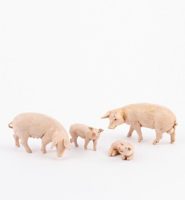 Famiglia maiali per presepe cm.12