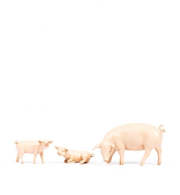 Famiglia maiali per presepe cm.19