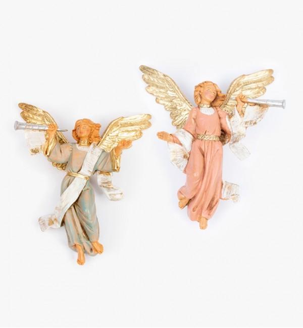 Angeli con tromba (15D-15S) per presepe cm.12