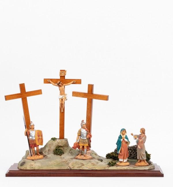 Scena Crocifissione con personaggi cm.12