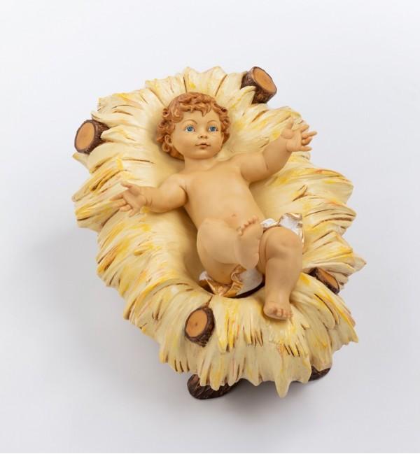 Bambino e culla in resina per presepe cm.125