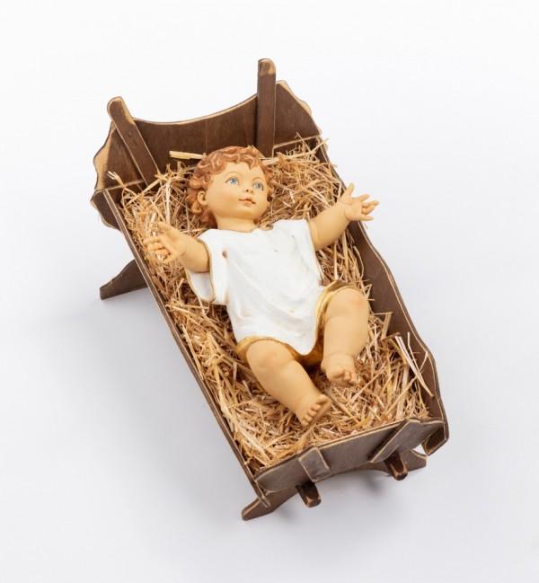 Bambino in resina e culla in legno per presepe cm.125