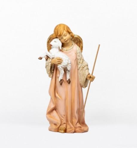 Angelo con agnello in resina per presepe cm.125